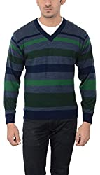 Aarbee Men's Woolen Sweater (Sweater LW02, Green, Blue and Grey, X-Large)