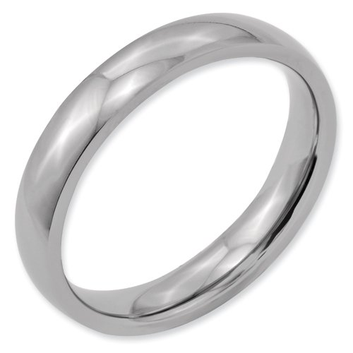 Titanium 4mm Polished Band Ring Size 15.5 Real Goldia Designer Perfect Jewelry Gift for Christmas