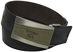 Buffalo by David Bitton Men's Logo Canvas Inlay Belt, Black/Brown, X-Large