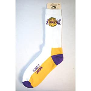 NBA Los Angeles Lakers Mens Crew Socks, Large by For Bare Feet