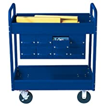 Equipto 145-8-BL Combination Truck with 2 Trays, 500lbs Capacity, 11&#034; Drawers, 30&#034; L x 16&#034; W x 36&#034; H, Textured Regal Blue
