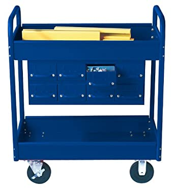 "Equipto 145-8-BL Combination Truck with 2 Trays, 500lbs Capacity, 11"" Drawers, 30"" L x 16"" W x 36"" H, Textured Regal Blue"