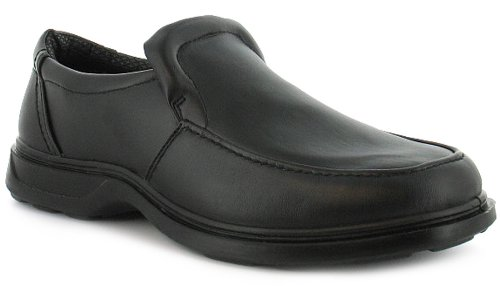Mens/Gents Black Cheap Slip On Casual Shoes Wider Fitting - Black - UK 9