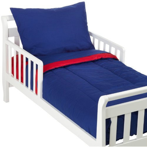 American Baby Company 100% Cotton Percale 4-Piece Toddler Bed Set, Red/Royal