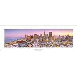 San Francisco Financial District - Golden Gate Bridge Panoramic (Panorama) Art Print Poster