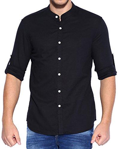 Lafantar-Mens-Black-Casual-Slim-Fit-Mandarin-Shirt
