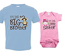 Big Brother Outfit, Little Sister Onesie with Owl, Includes Size 4 and 3-6 mo