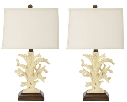 Safavieh Set of 2 Key West Coral Table Lamps, White