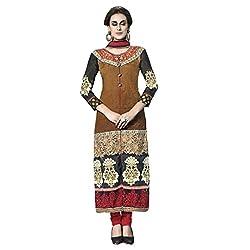 De Marca Brown Net Designer Celeb3433 Dress Material