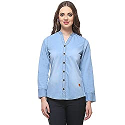 ZOYSIA Blue Long Sleeve Casual Partywear Denim Shirt