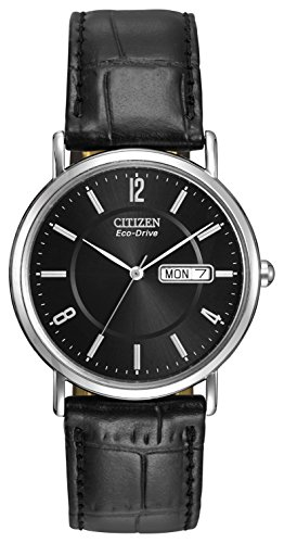 Citizen Men's Eco-Drive Black Leather Watch #BM8240-03E