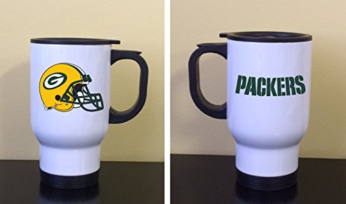 Travel Coffee Tea Mug Stainless Steel White Green Bay Packers Helmet Great Gift New