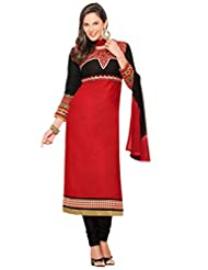 Women's Red & Black Cotton Straight Fit Semi Stitched Salwar Suit