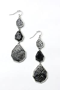 Dangling Faceted Jewel Snakeskin Python Link Drop Hook Earrings, Black