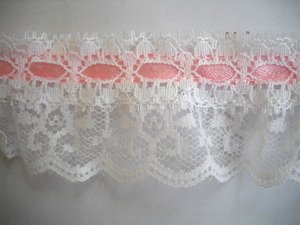 12 Yds White Ruffled Lace with Pink Ribbon 1.75 Inch Wrights