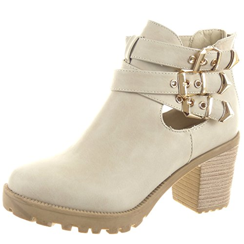 Sopily - Scarpe da Moda Stivaletti - Scarponcini Low boots Aperto alla caviglia donna Tanga sexy fibbia Tacco a blocco 8 CM - Beige FRF-LG06 T 40