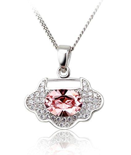 Beydodo Silver Pendant Chain For Women Roseo Oval AAA Cubic Zirconia Cloud Love Lock Necklace
