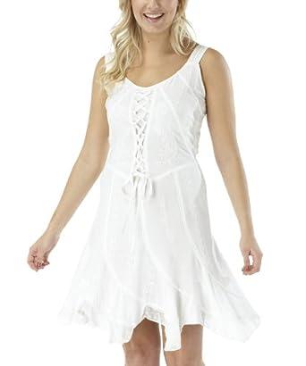 Joe Browns Damen Elegantes Besticktes Schnür-Kleid Weiß (40)