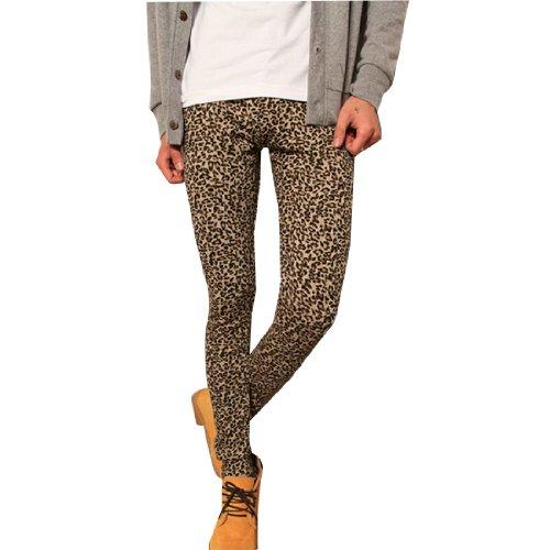 Mens Elastic Waist Leopard Prints Pants Leggings Beige Brown Mustard W26