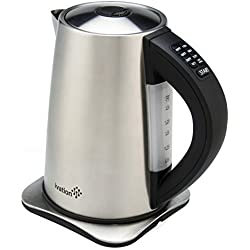 Ivation Precision-Temp Electric Hot Water Tea Kettle 1.7 Liter (7-Cup), Stainless Steel Cordless, 6 Preset Heat Settings