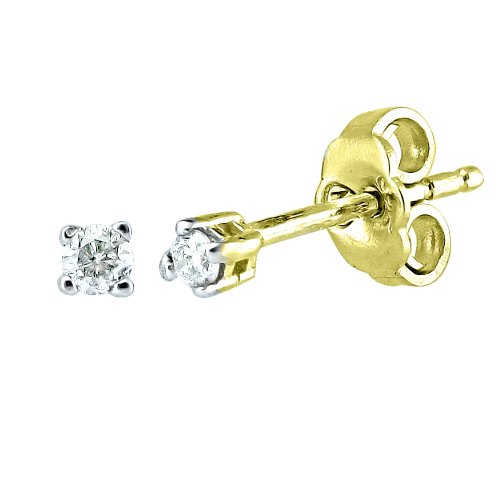 10K Gold Overlay Silver Diamond Earrings (0.05 cttw, I-J Color, I2-I3 Clarity)