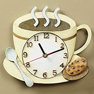 Amazon.com - Coffee Cup Latte Cappucino Kitchen Wall Clock ...
