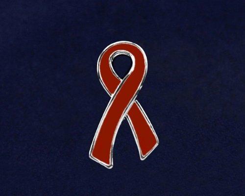 Red Ribbon Pin- Large Flat Red Ribbon Pin (50 Pins)