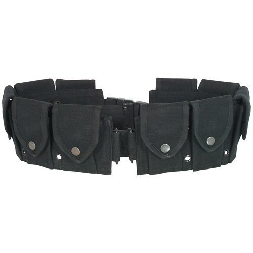 Ultimate Arms Gear Tactical Stealth Black 10 Pocket Utility Pouch Cartridge Ammo Tool Heavy Duty Cotton Canvas Belt