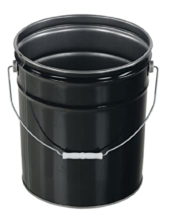 Vestil PAIL-STL-RI Steel Open Head Pail with Handle, 5 gallon Capacity, Black