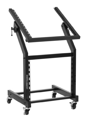 Ultimate Support JS-SRR100 Rolling Rack Stand - 12U-over-9U Rack on Casters - Angle-Adjustable for Convenience