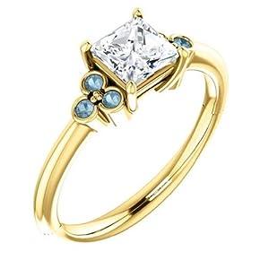 14K Yellow Gold Princess Cut White and Blue Diamond Engagement Ring