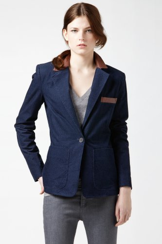 Corduroy Blazer With Leather Collar And Elbow Patches