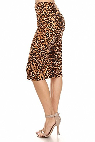 Sassy Apparel Women's Cheetah Leopard Animal Print Fitted Knit Fashion Skirt (Brown)
