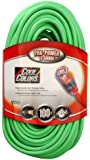 Coleman Cable 02579-0X 100-Foot 12/3 Neon Outdoor Extension Cord, Bright Green