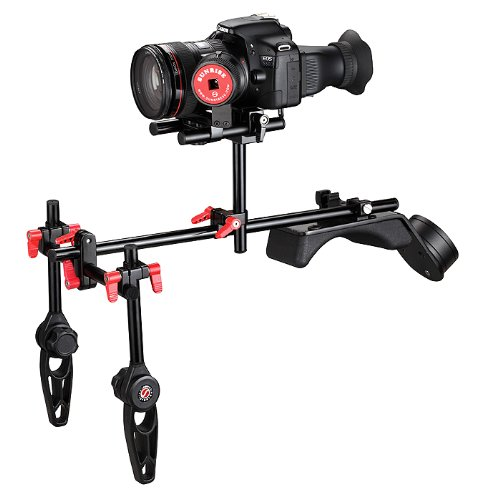 Sunrise SR208B DSLR Photography Video Steady Camcorder Shoulder Support Rig Follow Focus Set with Counter Weight