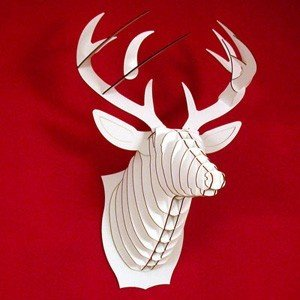 Bucky The Deer Recycled Cardboard Sculpture White Large