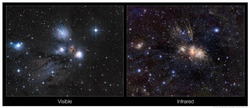 Astronomy Poster - Eso - Eso1039B - Infrared/Visible Light Comparison Of View...
