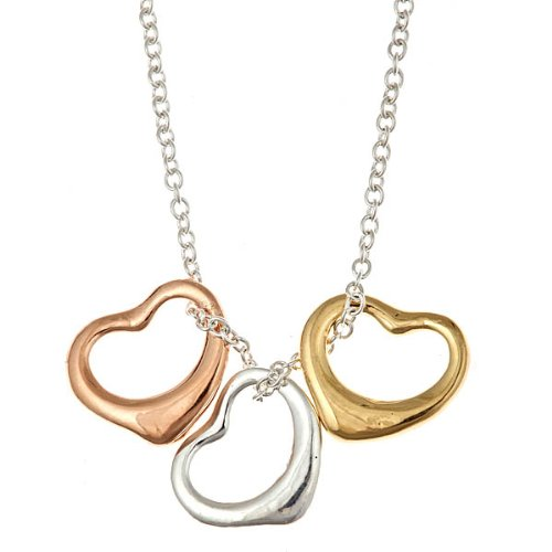 Tri-Color Rose, Yellow, Silver Open Heart Pendants Necklace 16