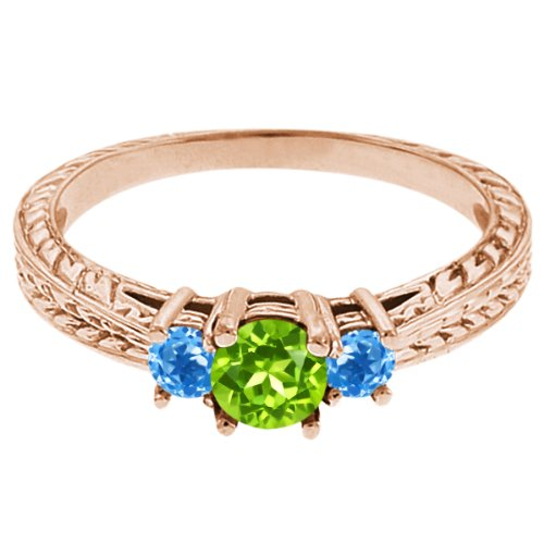 0.60 Ct Round Green Peridot Swiss Blue Topaz 18K Rose Gold 3-Stone Ring