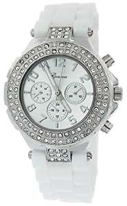Geneva Women's Silicone Designer Watch with Baguette Stones Bezel