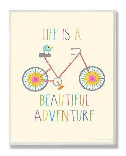 The Kids Room by Stupell Life is a Beautiful Adventure Bird on a Bike Rectangle Wall Plaque