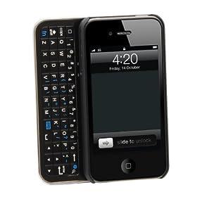 Aduro LUMENA Case with Illuminated/Backlit Sliding Bluetooth Keyboard for Apple iPhone 4/4S, Verizon, AT&T & Sprint (Retail Packaging) Black