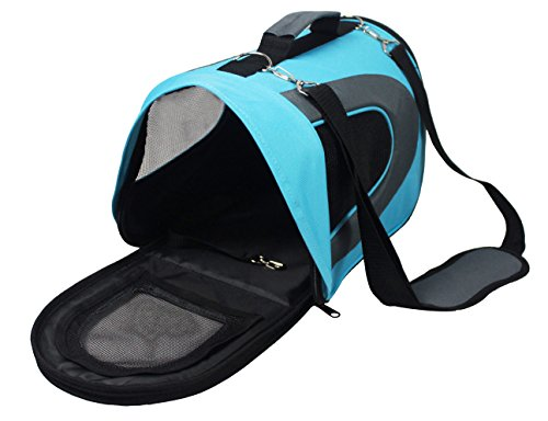 Soft-Sided Pet Travel Carrier (Airline Approved) for Small Cats, Puppies and Other Pets by Pet Magasin (Small, Blue)
