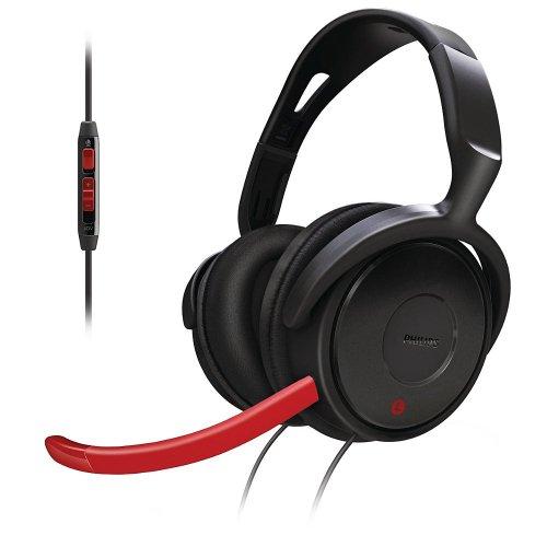 Philips SHG7980/10 Gaming-Bügelkopfhörer inkl. mini-Mikrofon schwarz/rot