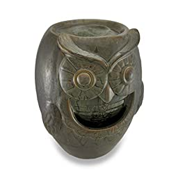 Green Ceramic Owl Table Top Water Fountain