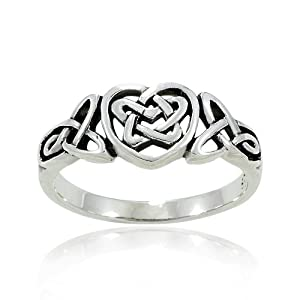 925 Oxidized Sterling Silver Celtic Knot Heart Triquetra Trinity Endless Band Ring for Women Size 6 - Nickel Free