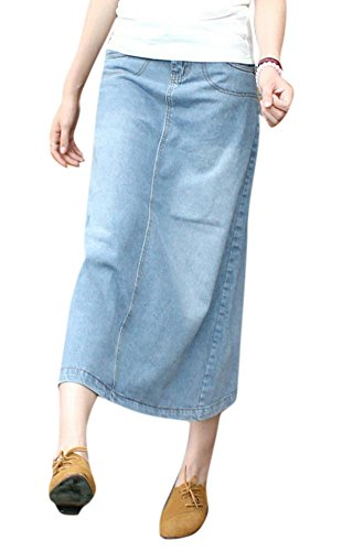 Skirt BL Women's Casual Stretch Ripped A Line Long Denim Jean Skirts Dress Blue