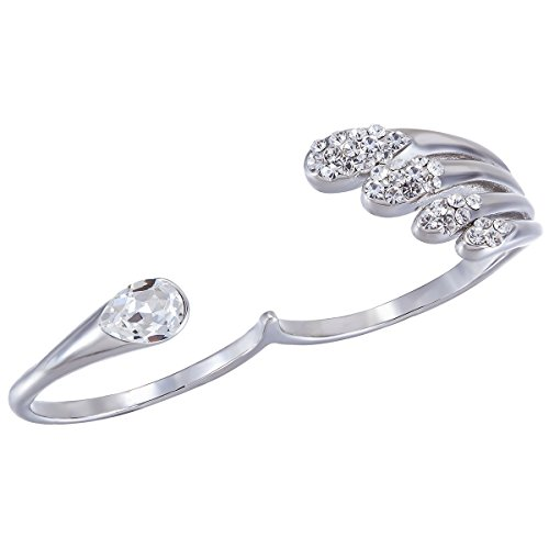 Fappac Rhodium Plated Crystals from Swarovski and Cubic Zirconia Open Two Finger Statement Ring - 6 (Two Finger Rings For Teen Girls compare prices)