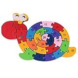 数字 アルファベット 知育玩具 動物 木製 パズル 子供 幼児 教育用品 (カタツムリ)