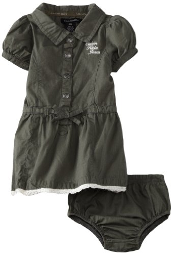 Calvin Klein Baby-girls Infant Dress with Panties, Olive, 12 Months